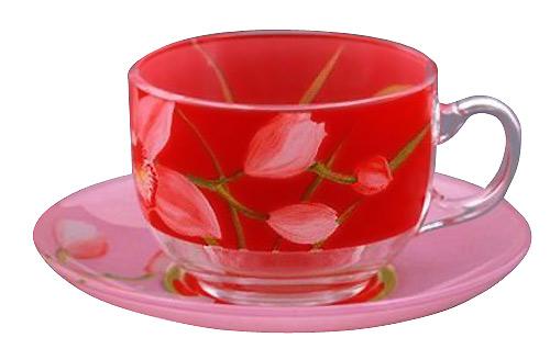 Чайный сервиз 220мл Luminarc Red Orchis G0670